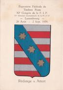 CPA Sur L'Exposition Fédérale Du Timbre Poste - Blason Des Cantons Du Luxembourg - 1936 - Rédange S. Attert - Rodange