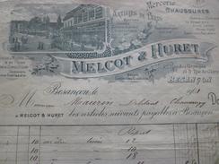 Facture Illustrée Besançon 1901 Melcot Et Huret Mercerie Chaussure - Textile & Vestimentaire