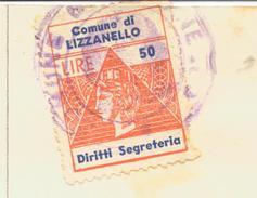 Lizzanello. 1963. Marcha Municipale Diritti Di Segreteria Su Documento - Otros