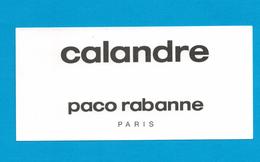 Cartes Parfumées Carte  CALANDRE  De PACO RABANNE - Modern (from 1961)