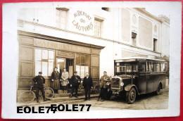 91 - Carte Photo - MARCOUSSIS - Cafe - Restaurant - AU DEPART DE L'AUTOBUS - Maison CHAUVET - Place De La Republique - L - France