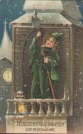 Glückwunsch Neujahr, Nachtwächter Auf Dem Turm, Relief, Präge-Postkarte - New Year
