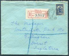 1937 Portugal Madeira Funchal Registered Cover - Westminster Bank, Gillingham, Dorset, GB - 1910-... Republic