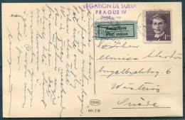 1952 Praha Prague Postcard Airmail Legation De Suede, Swedish Legation - Sweden - Czechoslovakia
