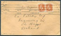 1919 New Zealand Wellington Baldwin & Hatward, Patent Agents, Engineers, Lambton Quay Cover -  The Hague, Holland - Covers & Documents