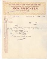 10 Dienville 1933.Lettre Exploitation Forestière,Scierie Léon Pfischter. Complete, Tb état. - France
