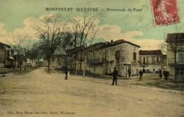 MONTPEZAT ILLUSTRE Promenade Du Fossé Personnages Colorisée Glacée Recto Verso - France