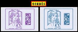 "2 TIMBRES GOMMES ** 2016  "" MARIANNE DATAMATRIX  (Europe + Monde) Sans 20 Gr  "". TTB 2016 - 2013-... Marianne (Ciappa-Kawena)"