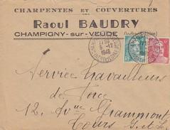 ESC 09-12-1948 Affr Gandon 721A+807-En Tête Raoul Baudry à Champigny-sur-Veude (Indre-et-Loire) - Postmark Collection (Covers)