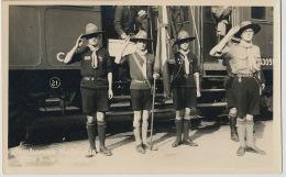 Real Photo Sibiu Jamboreea Nationala 1932 Scouts At Train Station Scoutism - Roumanie
