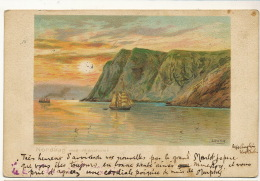 Nordkap Med Midnatsolen Art Card Used 1902 From Sweden - Norvège