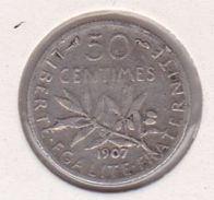 F190-14 50 CENTIMES SEMEUSE 1907 - G. 50 Centimes