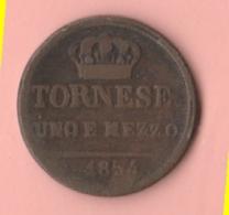 Regno Due Sicilie Uno E Mezzo Tornesi 1854 Re Ferdinando II° - Monnaies Régionales