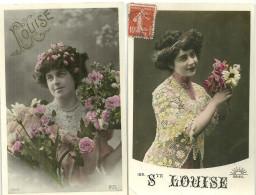 Theme Fete Cpa Prenom Louise 2 Cartes Femme Fleurs - Fêtes - Voeux