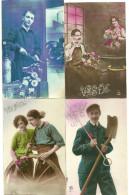 Theme Fete Cpa Prenom Saint Eloi  4 Cartes Metiers Charon Marechal Ferrand - Holidays & Celebrations