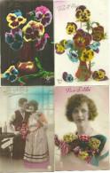 Theme Fete Cpa Prenom Saint Eloi  4 Cartes Femmes Couple Pensées Fleurs - Fêtes - Voeux
