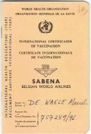 SABENA. Certificats Internationaux De Vaccination. International Cetificates Of Vaccination. 1979. - Aviation Commerciale