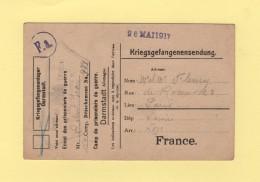 Darmstadt - Camp De Prisonniers En Allemagne - 26 Mai 1917 - Marcophilie (Lettres)