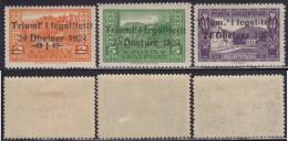 1(421). Albania 1925 With Overprint - 3 Values, MH (*) Michel 105, 106, 110 - Albanie