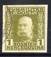 BOSNIA & HERZEGOVINA  1912 Definitive 1 H. Imperforate, Used.  ANK 64 - Bosnia And Herzegovina
