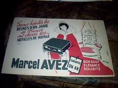 Publicite Buvard   Illustré Par  Francis Havas Articles De Voyage Marcel Avez - Buvards, Protège-cahiers Illustrés