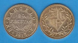 JOSE NAPOLEON 20 PESETAS 1.813 Oro Barcelona  Replica   DL-11.956 - [ 1] …-1931 : Royaume