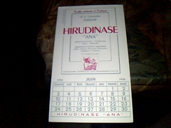 Publicite Buvard  Calendrier De 1956 Medicament Hirudinase - Blotters