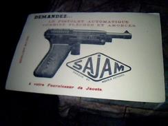 Publicite Buvard Jouet Sajam Pistolet Automatique A Amorces Et Flechettes - Blotters