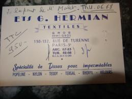Paris 3e  Ets G Hermian Textiles - Cartes De Visite