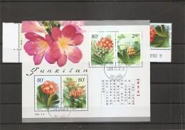 Chine -Fleurs ( 3854/57 + BF 109 Oblitérés)