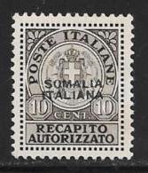 Somalia, Scott # EY1 Mint Hinged Italy Authorized Delivery Stamp, Overprinted, 1939, Small Thin - Somalia