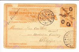 ENTIER POSTAL DE L´ETAT INDEPENDANT DU CONGO. ENCLAVE DE LADO VERS BRUXELLES. (6AL 257) - Entiers Postaux