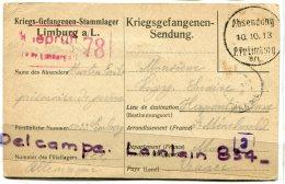 - Carte Lettre -  Censuré, Camp Absendung - 1918, Allemagne, Limburg A/L, Kriegsgefangenen-Sendung, Marne,  BE, Scans. - Guerra De 1914-18