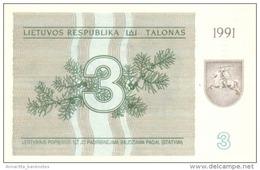 LITHUANIA 3 TALONAS 1991 P-33b UNC  [ LT144a ] - Lithuania