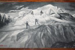 """CPA Helvetia La Montagne """"JUNGFRAU"""" (Jeune Femme Seins Nus ) Alpinistes Gravissant La Montagne !!! Alpinismes  1907 - ZH Zurich"""