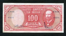CHILE BILLETES; 100 ESCUDOS – 1948 – 1958 – SOBRE CARGA DE 1960 - 1961 (ARTURO PRAT). - Chile