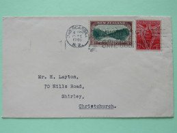 New Zealand 1946 Cover Invercargill To Christchurch - Lake Matheson - St. Paul Cathedral London - Covers & Documents