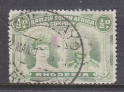 Southern Rhodesia / B.S.A.C.  1910, 1/2 Yellow-green, Double Head, Used - Rhodésie Du Sud (...-1964)