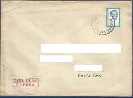 TURKEY  POSTAL USED AIRMAIL COVER TO PAKISTAN FAMOUS PERSON  KAMAL ATATURK - 1921-... République