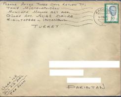 TURKEY 1984 POSTAL USED AIRMAIL COVER TO PAKISTAN FAMOUS PERSON  KAMAL ATATURK - 1921-... République