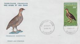 Enveloppe  1er  Jour  TERRITOIRE  FRANCAIS  Des  AFARS  Et  ISSAS     Francolin   1972