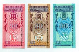 Mongolia - Lotto 3 Banconotte - 10-20-50 Mongu - Nuove -  (FDC1583) - Mongolia