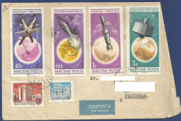 HUNGARY POSTAL USED AIRMAIL COVER TO PAKISTAN SPACE ROCKET