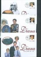 Tonga 1998 Princess Diana Memorial Part Set Of 3 On 3 FDC - Tonga (1970-...)