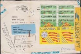 Colombie 1994 Michel 1906 X 2 Et 1941 X 2 Sur Lettre Recommandée Pour La France. Coupe Du Monde De Football Aux USA - World Cup