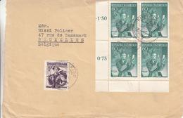 Autriche - Devant De Lettre De 1950 - Bloc De 4 - Oblitération Ritzlhof - Journée Du Timbre - Philatélie - Loupe - - 1945-60 Storia Postale