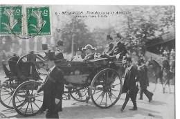 BESANCON N 9 FETES 13 AOUT 1910  ARRIVEE GARE VIOTTE  CAROSSE MILITAIRE - Besancon
