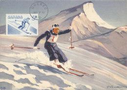 D26824 CARTE MAXIMUM CARD 1957 CANADA - SKIING DOWNHILL RACING CP ORIGINAL - Skiing