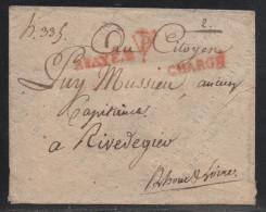 Paris, P.payé D Et Chargé En Rouge - Pothion N° 1725 - Indice 16 - 1801-1848: Précurseurs XIX