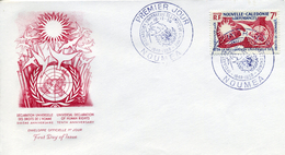 NOUVELLE CALEDONIE 1958 10è Ann Déclaration Universelle Des Droits De L'Homme FDC - New Caledonia